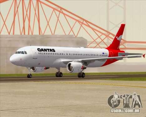 Airbus A320-200 Qantas para GTA San Andreas traseira esquerda vista