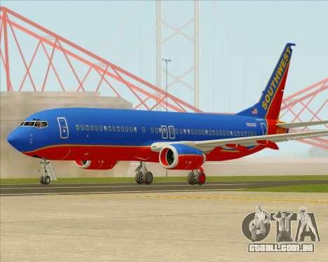 Boeing 737-800 Southwest Airlines para GTA San Andreas vista traseira