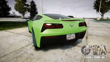 Chevrolet Corvette C7 Stingray 2014 v2.0 TireMi1 para GTA 4 traseira esquerda vista