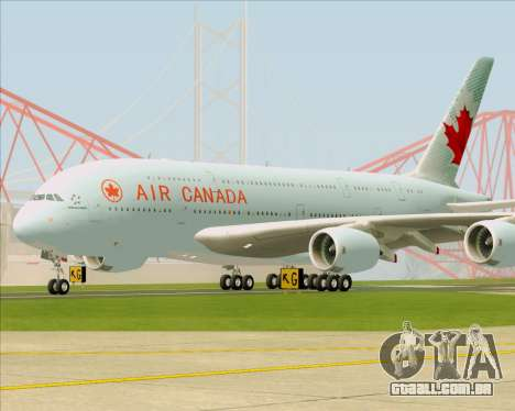 Airbus A380-800 Air Canada para GTA San Andreas esquerda vista