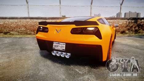 Chevrolet Corvette Z06 2015 TireBr1 para GTA 4 traseira esquerda vista