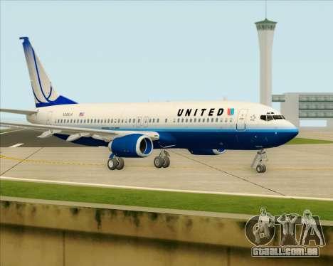 Boeing 737-800 United Airlines para GTA San Andreas traseira esquerda vista