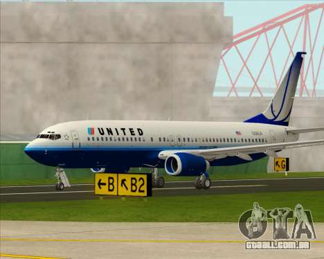 Boeing 737-800 United Airlines para vista lateral GTA San Andreas