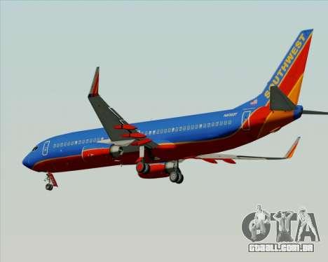 Boeing 737-800 Southwest Airlines para GTA San Andreas traseira esquerda vista
