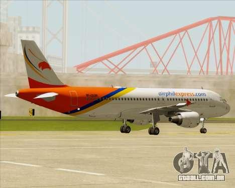 Airbus A320-200 Airphil Express para GTA San Andreas vista traseira