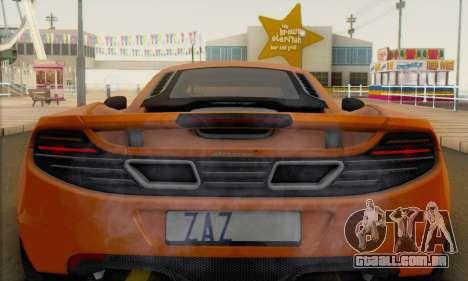 McLaren MP4-12C Gawai v1.4 para GTA San Andreas vista traseira