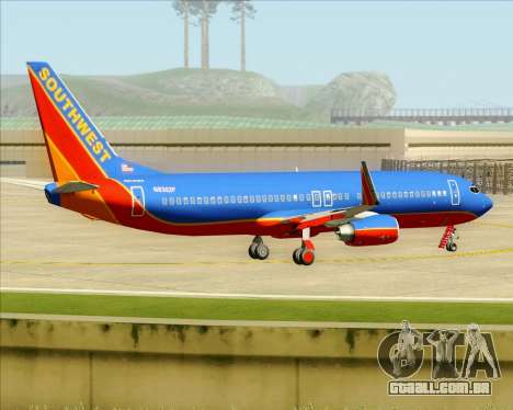 Boeing 737-800 Southwest Airlines para GTA San Andreas vista inferior