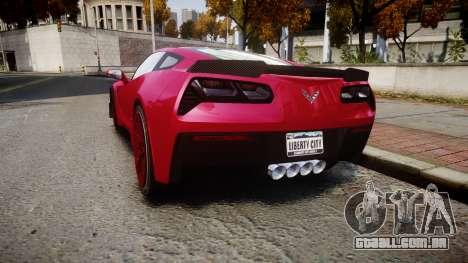 Chevrolet Corvette Z06 2015 TireMi2 para GTA 4 traseira esquerda vista