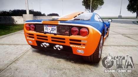 McLaren F1 1993 [EPM] Gulf 34 para GTA 4 traseira esquerda vista