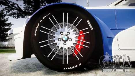 BMW M3 E46 GTR Most Wanted plate Liberty City para GTA 4 vista de volta