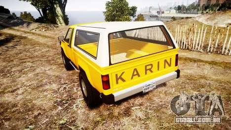 Karin Rebel 4x4 v2.0 retexture para GTA 4 traseira esquerda vista