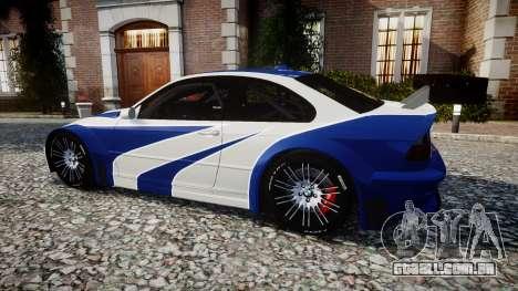 BMW M3 E46 GTR Most Wanted plate NFS para GTA 4 esquerda vista