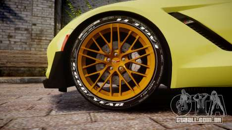 Chevrolet Corvette Z06 2015 TireGY para GTA 4 vista de volta