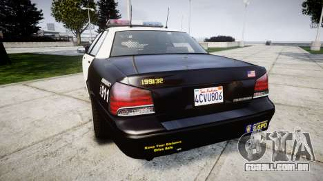 GTA V Vapid Police Cruiser Rotor para GTA 4 traseira esquerda vista
