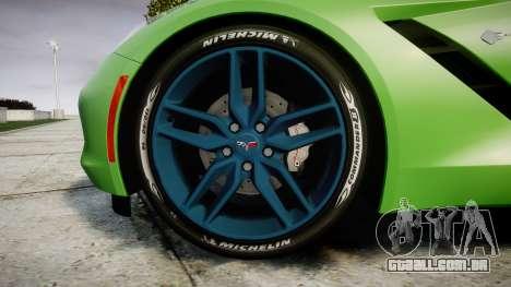 Chevrolet Corvette C7 Stingray 2014 v2.0 TireMi1 para GTA 4 vista de volta