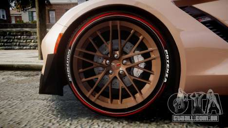 Chevrolet Corvette Z06 2015 TireBr2 para GTA 4 vista de volta