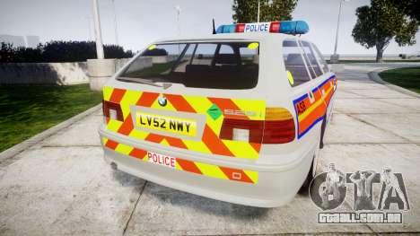 BMW 525i E39 Touring Police [ELS] JSARVV para GTA 4 traseira esquerda vista