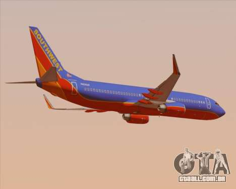 Boeing 737-800 Southwest Airlines para GTA San Andreas vista direita