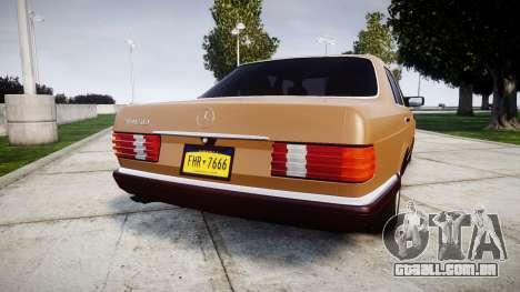 Mercedes-Benz 560SEL W126 para GTA 4 traseira esquerda vista