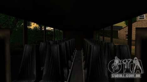 Treinador com o 3D do interior para GTA San Andreas traseira esquerda vista