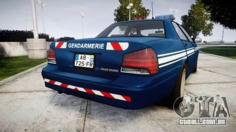 GTA V Vapid Police Cruiser Gendarmerie1 para GTA 4 traseira esquerda vista