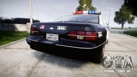 Chevrolet Caprice 1991 LAPD [ELS] Patrol para GTA 4 traseira esquerda vista