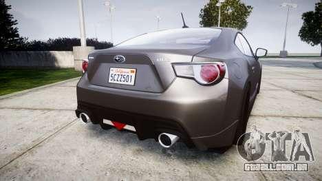 Subaru BRZ 2011 para GTA 4 traseira esquerda vista