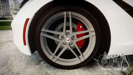 Chevrolet Corvette Stingray C7 2014 para GTA 4 vista de volta