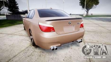 BMW M5 E60 v2.0 Wald rims para GTA 4 traseira esquerda vista
