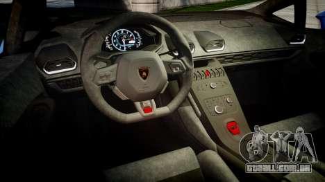 Lamborghini Huracan LP610-4 2015 para GTA 4 vista interior