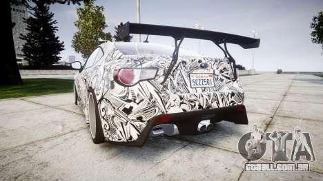 Subaru BRZ 2011 Sharpie para GTA 4 traseira esquerda vista