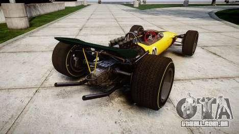 Lotus Type 49 1967 [RIV] PJ19-20 para GTA 4 traseira esquerda vista