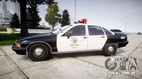 Chevrolet Caprice 1991 LAPD [ELS] Patrol para GTA 4 esquerda vista