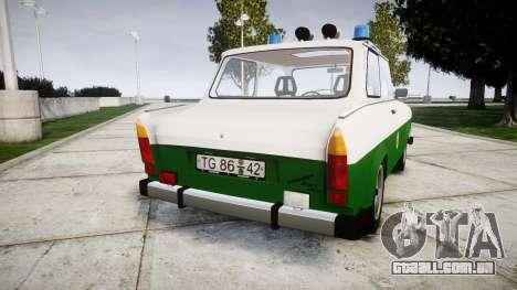Trabant 601 deluxe 1981 Police para GTA 4 traseira esquerda vista