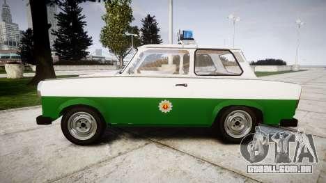 Trabant 601 deluxe 1981 Police para GTA 4 esquerda vista