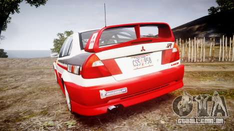 Mitsubishi Lancer Evolution VI Rally Edition para GTA 4 traseira esquerda vista