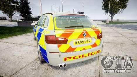 BMW 525d F11 2014 Police [ELS] para GTA 4 traseira esquerda vista