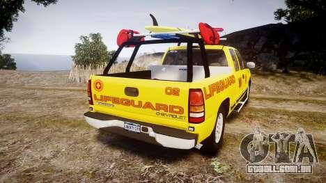 Chevrolet Silverado Lifeguard Beach [ELS] para GTA 4 traseira esquerda vista