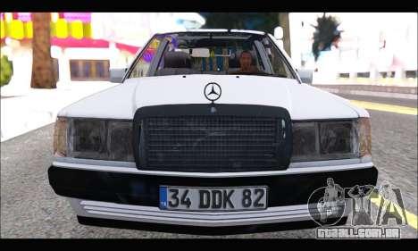 Mercedes Bad-Benz 190E (34 DDK 82) para GTA San Andreas esquerda vista