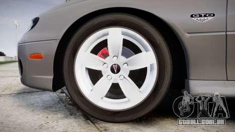 Pontiac GTO 2006 17in wheels para GTA 4 vista de volta