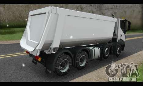 Iveco Trakker 2014 Tipper Snow para GTA San Andreas traseira esquerda vista