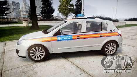 Vauxhall Astra 2005 Police [ELS] Britax para GTA 4 esquerda vista