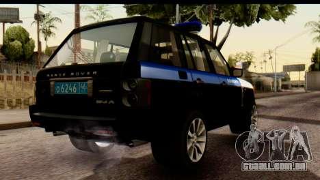 Land Rover ДПС para GTA San Andreas vista traseira