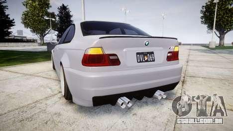 BMW E46 M3 para GTA 4 traseira esquerda vista