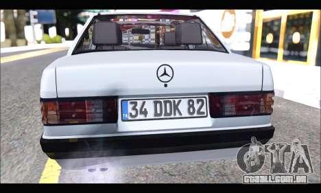 Mercedes Bad-Benz 190E (34 DDK 82) para GTA San Andreas vista traseira