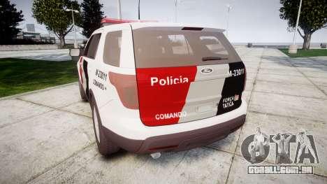 Ford Explorer 2013 Police Forca Tatica [ELS] para GTA 4 traseira esquerda vista
