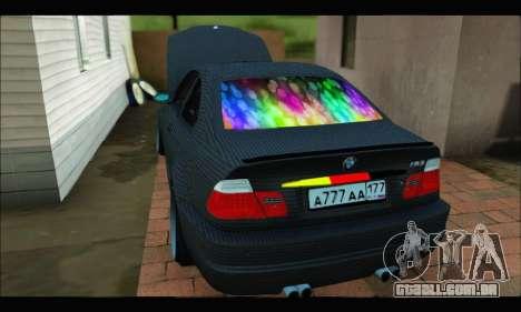 BMW M3 E46 Carbon para GTA San Andreas traseira esquerda vista