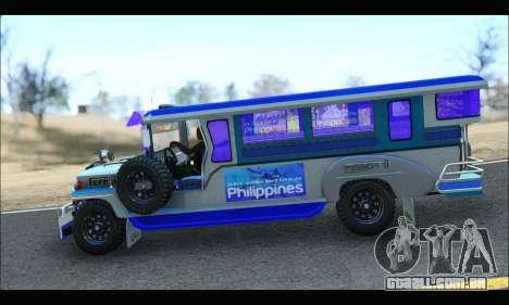 Light Jeepney para GTA San Andreas traseira esquerda vista