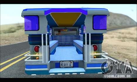 Light Jeepney para GTA San Andreas vista traseira