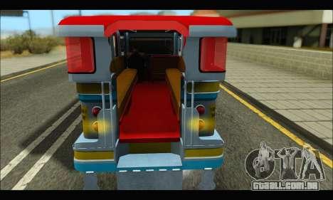 Jeepney Legacy para GTA San Andreas traseira esquerda vista